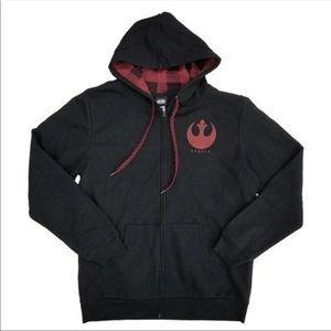 Star Wars Rebel Black Hoodie Last Jedi Full Zip
